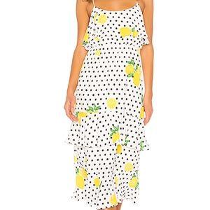 Lovers & Friends Midi Dress Lemon Polka Dot Small